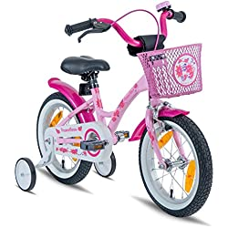 "Prometheus Bicicleta Infantil para niña | 14 Pulgadas | Rosa Lila | a Partir de 4 años con ruedines y Freno contrapedal – Bicicleta Infantil 14"" Classic Edition 2019"