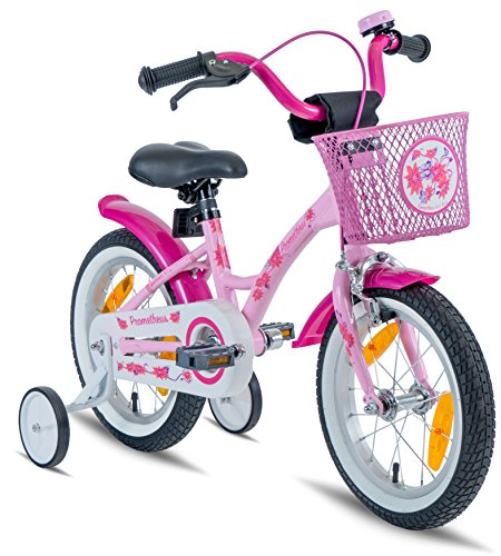 Prometheus Mädchenfahrrad 14 Zoll Rosa Lila ab 4 Jahre mit Stützräder und Rücktritt - Kinderfahrrad 14zoll Classic Edition 2019