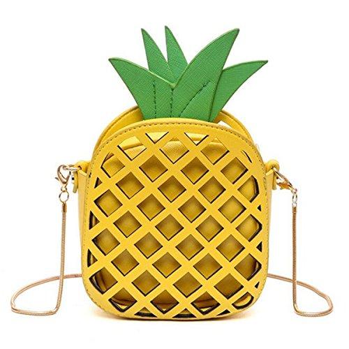 OURBAG Borsa del corpo delle donne Borse a tracolla Borse a tracolla di ananas delle ragazze Giallo Giallo