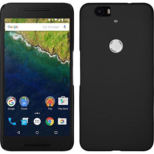 PhoneNatic Case für Google Nexus 6P Hülle schwarz gummiert Hard-case + 2 Schutzfolien