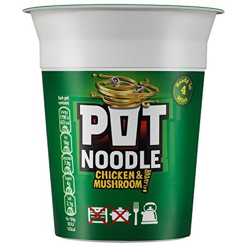 Pot Noodle Chicken and Mushroom 90 g (Pack of 12) by Pot Noodle