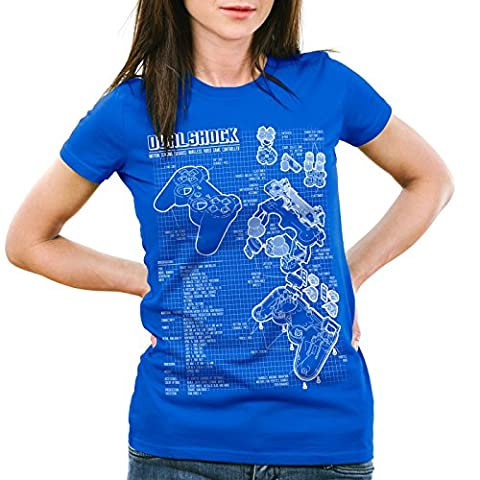 style3 Dualshock Contrôleur T-Shirt Femme PS console de jeux manette, Couleur:Bleu;Taille:2XL