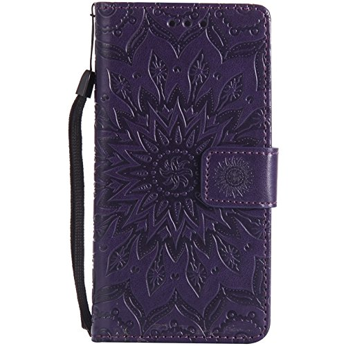 YHUISEN Sony M5 Case, Sun Flower Druck Design PU Leder Flip Wallet Lanyard Schutzhülle mit Card Slot / Stand für Sony Xperia M5 ( Color : Brown ) Purple