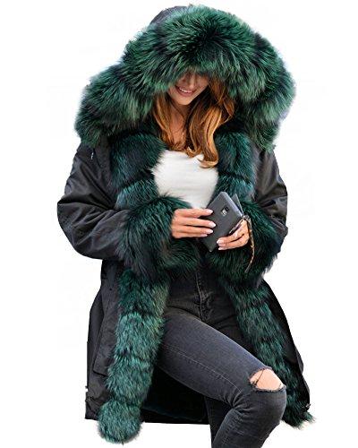 Aofur Damen Wintermantel Jacke Kunstfell Winterjacke Lange Kapuze Parka Elegant Jacke 36 38 40 44 44 46 48 50 (DE 42 44/Tag L, Schwarz Grün)