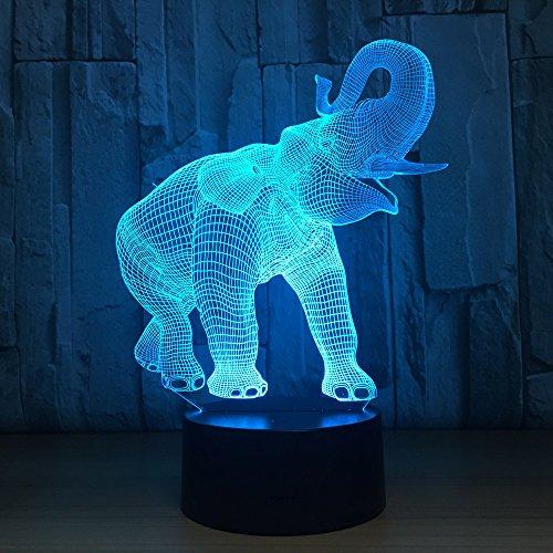 DFDLNL Loely Ephant 7 Farbwechsel Tier 3D Led Lampe USB Gebühr 3D Nachtlicht Schlafzimmer...