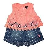 U.S. Polo Assn. Baby Girls Sleeveless Flounce Top and Denim Short Romper