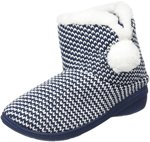 Isotoner Damen Knitted Bootie with Pom Pom Hausschuhe Blau (Marineblau)