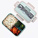 OMZGXGOD Scatole bento,Bento Box Portatile -Contenitore Porta Pranzo Ermetico Sicurezza Grano Naturale Lunch Box Contenitore Alimentare ermetico con Bacchette,Cucchiaio per Bambini e Adulti,microonde