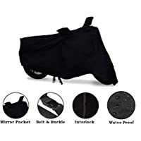 FourWheels Royal Enfield Classic 350/500 Body Cover Black Waterproof with Mirror Pockets and Belt.