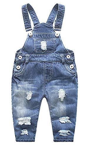 FEOYA Niñas Bebé Petos Vaqueros Overalls Denim Pantalones
