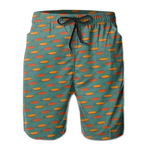 XMNCAN Boys Board Shorts Disc Golf Pattern Quick Dry Swim Surf Trunks (XL)