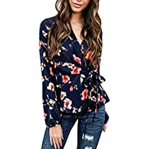 Blusa Elegante De Mujer, Blusa con Cuello En V De Manga Larga con Estampado Floral