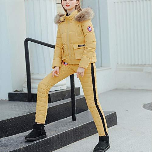Traje de esquí para Mujer Chaqueta con Capucha de Cuello de Piel Gruesa de Invierno Pantalones Delgados al Aire Libre Chaqueta de algodón cálida + Pantalones @ Yellow_L
