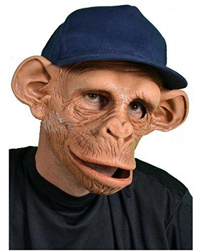 Horror-Shop Schimpansen Maske mit Baseball Mütze