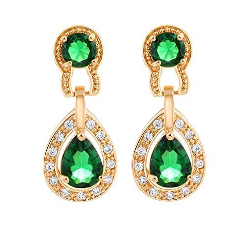 YAZILIND 18K Vogue Vergoldet überzogenes Zirkonia grüne Tropfen Ohrringe für Frauen Schmuck Geschenk Vintage Vogue-fotos