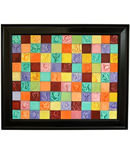 Rangvas Moods of Ganesha 100% Original Handmade Framed Modern Abstract Colourful Canvas Oil Painting (90 x 75 cms)
