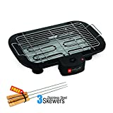 Cello Ultra CLO_BBQ_ULTRA3SKWR 2000-Watt Barbeque with 3 Skewers (Black/Silver)