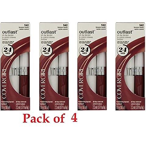 Covergirl Outlast Lipcolor, 542 Brazen Raisin (4 Pack) by