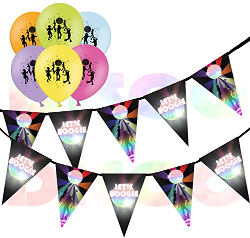 70s Disco Party Decorations Bundle. Inc. 10 balloons and Let's Boogie bunting.
