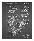 JP London posjsg25Block Stück Brick Lego Kunst schälen und Stick Vintage Schwarz Grid Poster Patent Art, schwarz/weiß Gitterlinien, 61x 50,2cm