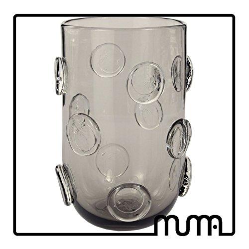 Vase aus Glas künstlerisch mit Knöpfen in Glas angewandt. 100% handgefertigt