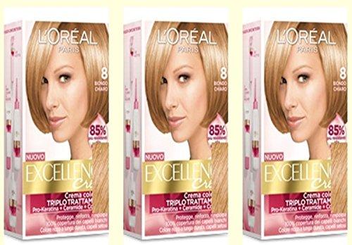 3-x-loreal-excellence-creme-8-blond-clair-teinture-pour-cheveux-coloration
