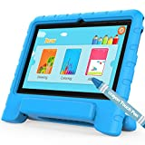 Computers Kids Best Deals - Android Tablet PC for Kids, TURNMEON® 7Inch IPS Display WiFi Dual Camera Games,Android Quad Core,8GB,1GB RAM,Pre-install Parents Control OS for Children (Blue Handle Holder Case+Stylus Crayon Included)