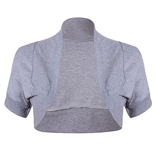 Bolero di Janisramone donna collo a costine semplice scrollata di spalle top di cotone manica cap Grigio