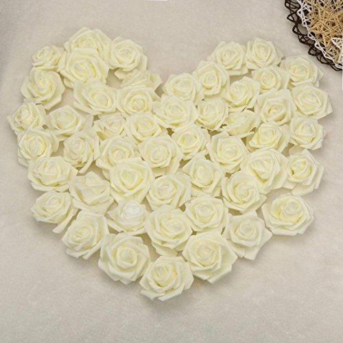 LuckyGirls 50Pcs Unechte Blumen,Künstliche Deko Blumen Gefälschte Blumen Bunte Schaum Rosen Braut Hochzeitsblumenstrauß für Haus Garten Party Blumenschmuck DIY (weiß) (Bulk Künstliche Rose)
