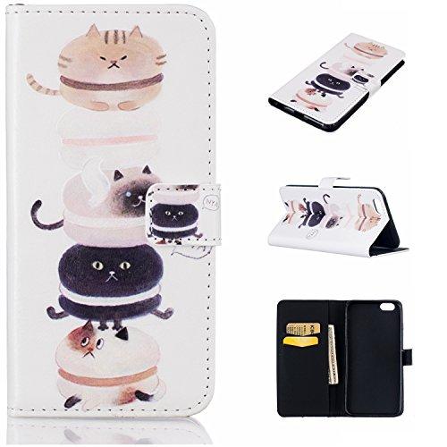 6 Plus Hülle, 6S Plus Hülle, iPhone 6 Plus Hülle, iPhone 6S Plus Hülle, iPhone 6 Plus / iPhone 6S Plus Hülle Muster, iPhone 6 Plus / 6S Plus Leder Wallet Tasche Brieftasche Schutzhülle, BONROY 3D Bunt Kätzchen