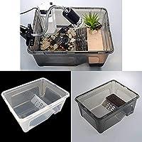 N/J Transparente Acuario Plástico del Tanque De Pescados Alimentación Cría Box For Tortuga Insectos Reptiles Jaula del Animal Doméstico (Color : Black L)