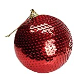 BHYDRY Adorno navideño de Lentejuelas con Adornos de Purpurina, Bolas, árbol de Navidad, decoración, 8 cm(1PC,Rojo)