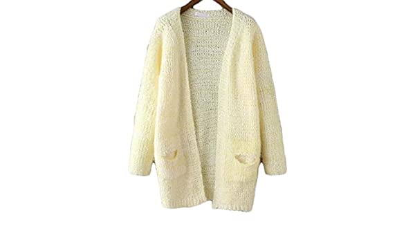 Women's Open Knit Shaggy Pockets Yellow Cardigan: Amazon.co
