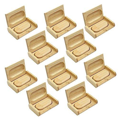 10 Stück Speicherstick USB 3.0 16GB mit Holzbox USB-Stick Ahorn Einfache Form