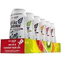 Best Body Nutrition Vital Drink Mix up 1:80 Tray Cola, Himbeere, Kirsche, Waldmeister Flavour Drops, 6 x 48ml