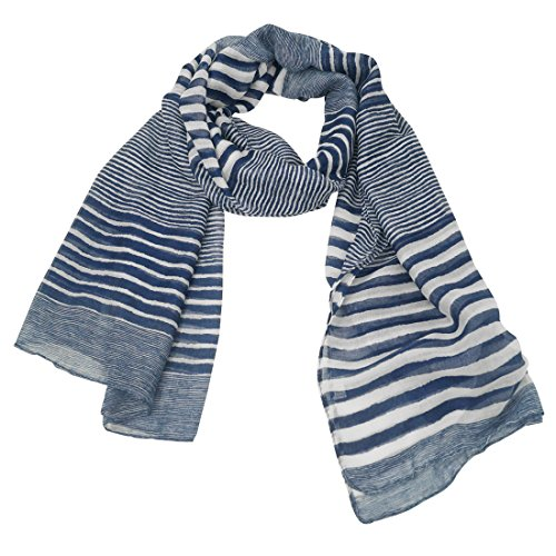 Feoya - sciarpa foulard scialle coprispalla scarf per ragazza donna elegante in filato a righe estate primavera autunno alla moda multifunzionale - 90*180cm - blu
