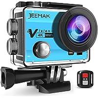JEEMAK Caméra Sport 4K 16MP Action Cam WiFi Caméra Étanche Avec Télécommande, Grand Angle 170°, Écran LCD 2.0 Pouces, 2 Batteries Rechargeables (Bleu)