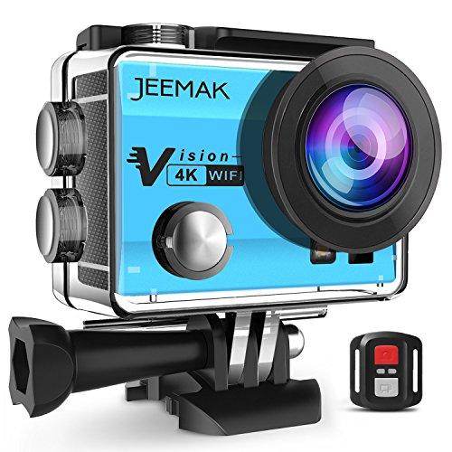 JEEMAK 4K Cámara Deportiva Impermeable 16MP WiFi Cámara de Acción con Control Remoto 2.4G. Pantalla LCD 2 Pulgadas. Angulo de visión 170º. Incluye 2 baterias, Kit de Accesorios(Azul)