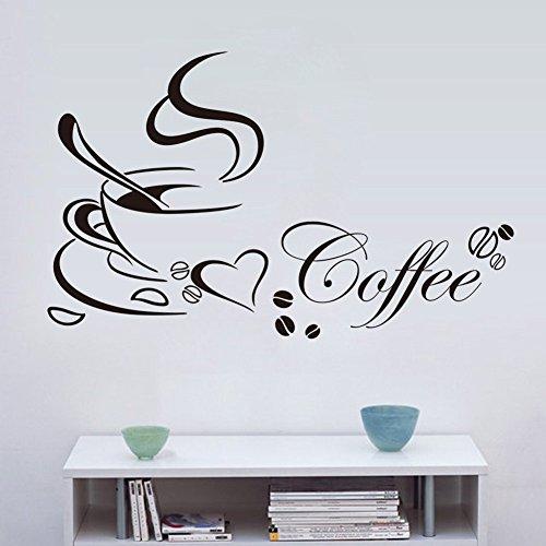 Kreative kaffee gourmet küche kunst wandaufkleber DIY vinyl dekoration restaurant bar abnehmbare wasserdichte tapete 58x30 cm (Küche Gourmet-kaffee)