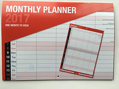 2017Grande mois par page Bound Planning mural Calendrier–Home travail de bureau