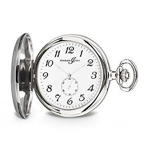 Hermann Jäckle Freiburg Quarz Taschenuhr mit dezentraler Sekunde incl. Kette und Uhrenbox