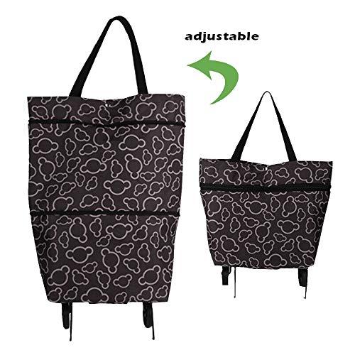 GAOYI Zusammenklappbare Einkaufstasche, Einkaufswagen, zusammenklappbare Räder Rollbarer Einkaufswagen mit Handschlaufen für den täglichen Gebrauch (Kaffeefarbe)