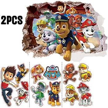 Kibi Paw Patrol Sticker Mural 3D Chambre Gar/çon Fille Paw Patrouille 3D Autocollants Muraux Bris/és Stickers Muraux Pat Patrouille Autocollants Muraux Pat Patrouille Chambre Enfant