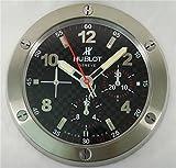 Hublot Silencioso Luminoso Sweep Reloj De Pared, Plata + Negro