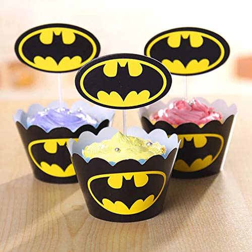 51Wf49qiJ6L - 96 piezas de superhéroes Cupcake Envoltorios Toppers Decoraciones de mesa para pasteles Artículos de fiesta 4 estilos-Spiderman Superman Batman Capitán Fiesta de cumpleaños Favores de decoración