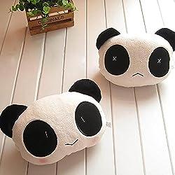 HuaYang Cartoon Oso Panda de Peluche (Auto Cintura cojín Asiento de Coche reposacabezas Cuello Resto (1Cara Sonriente + 1Cara Triste)