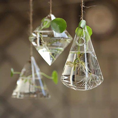 Galleria fotografica Candora irregolare geometrico vaso recipiente di vetro da appendere fioriere vasi da fiori/acqua fioriera vaso set comprensivo di 3pezzi con stringhe