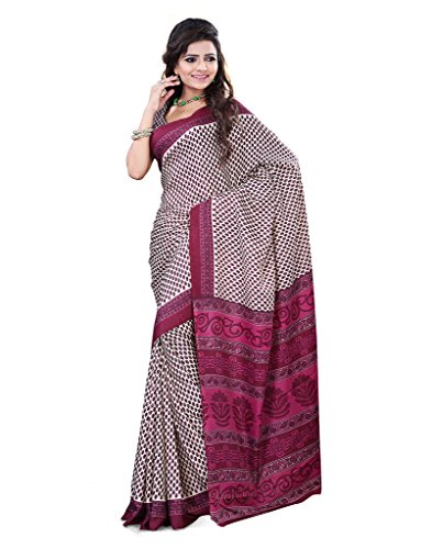 FineFab Cream & Dark Red Crepe Daily Wear Printed Sarees With Blouse Piece