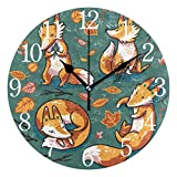 Voxpkrs You're So Cute Cat Design Round Wall Clock, Silent Non Ticking Oil Painting Decorative for Home Office School Clock Art
