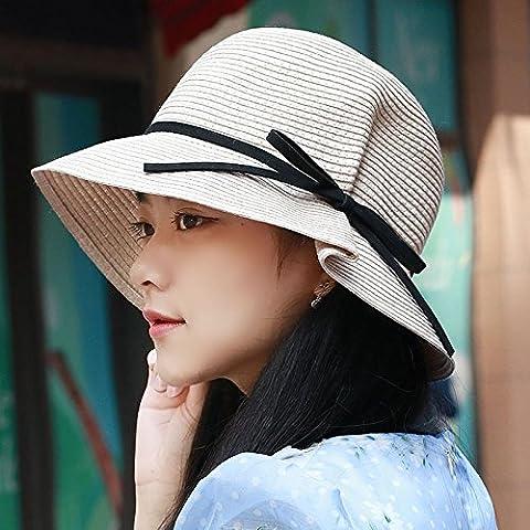 POLKI Round Top Hat Chapeau de Paille pliable Mme respirant capuchon ajustable chapeaux de plage du bassin